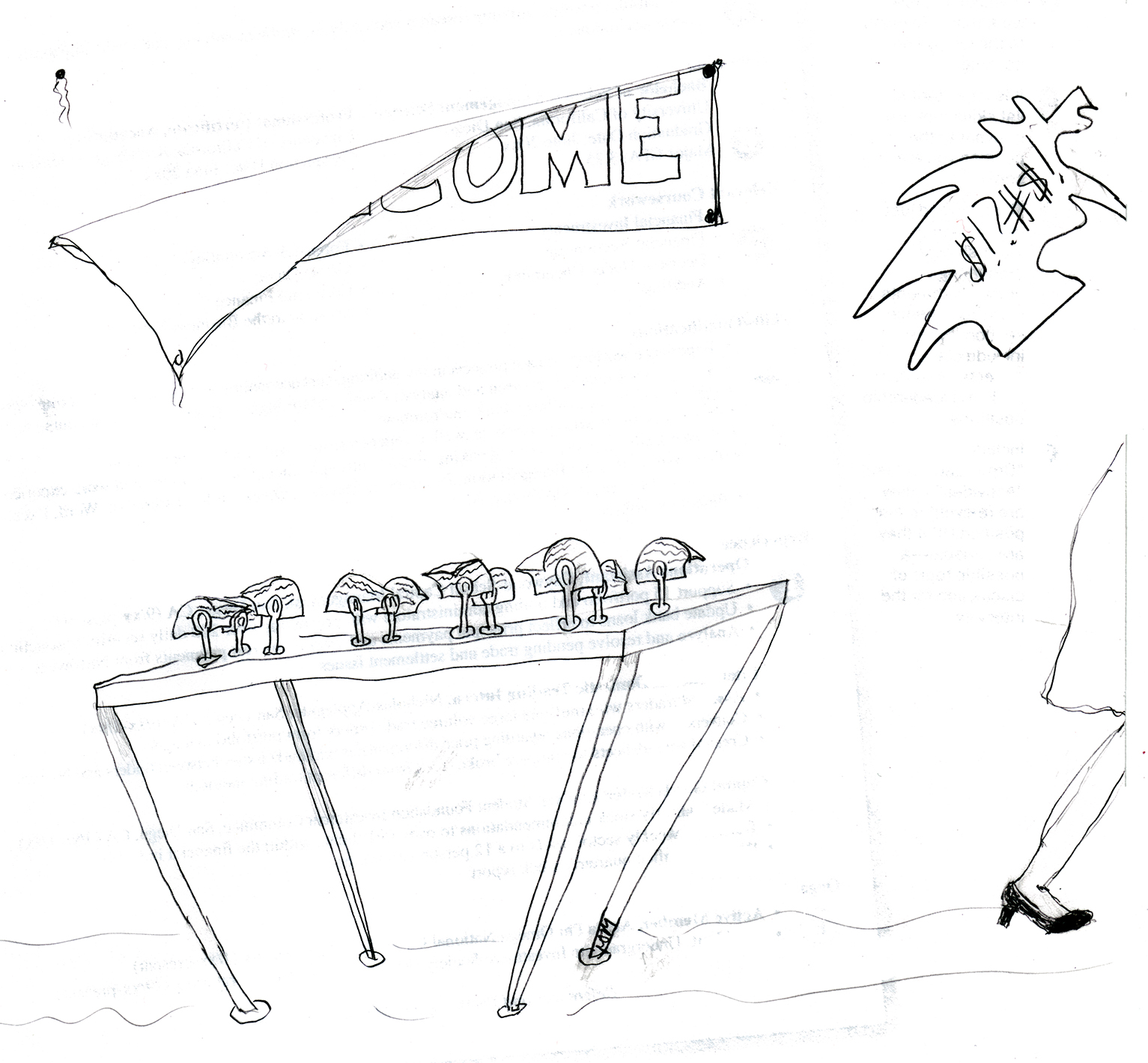 Sketch of woman walking off screen swearing while a banner falls off the wall, and certificates in stands on a table top fall over.