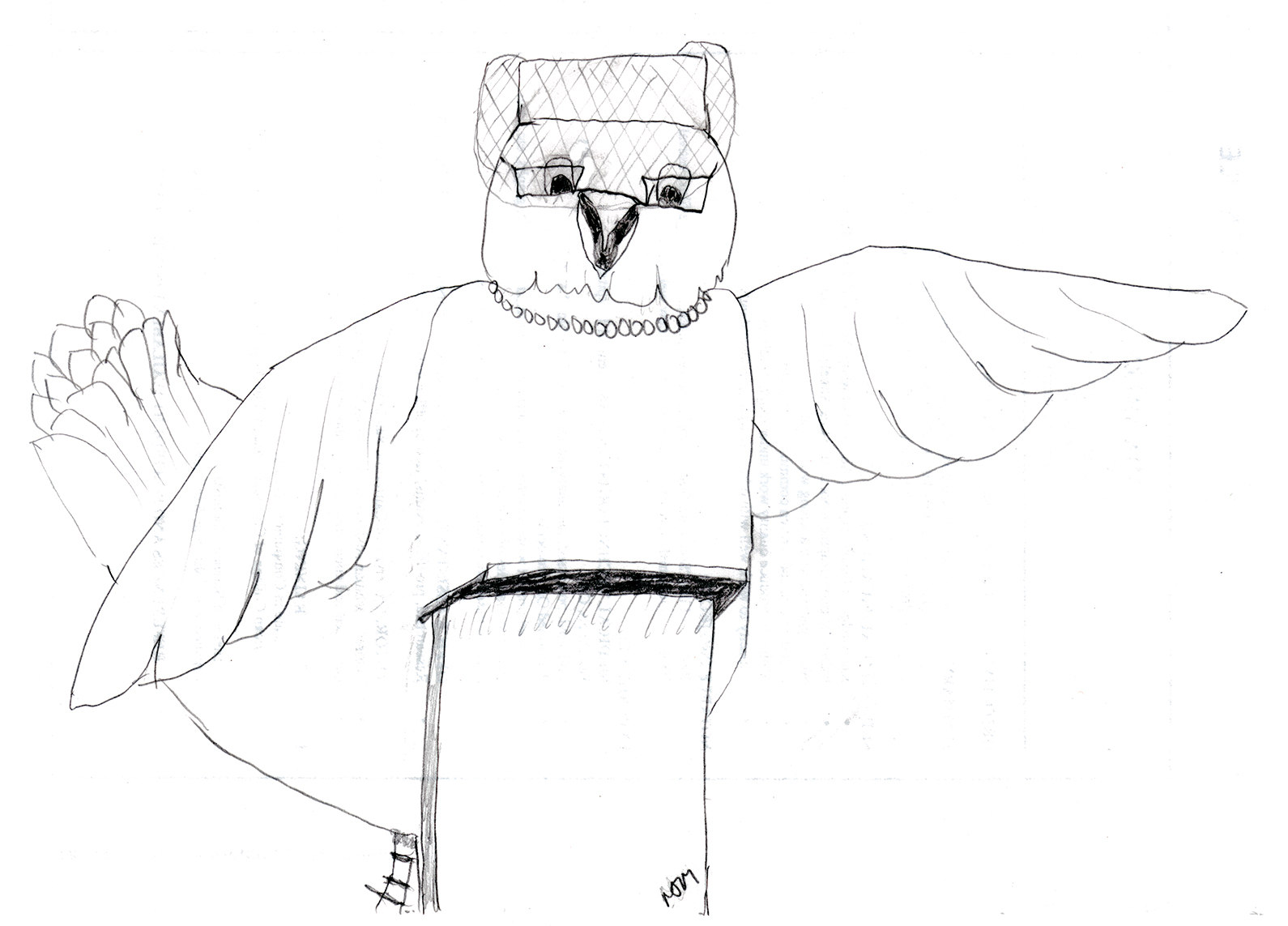 Sketch of a chicken standing at a podium wearing a pillbox hat and pearls.