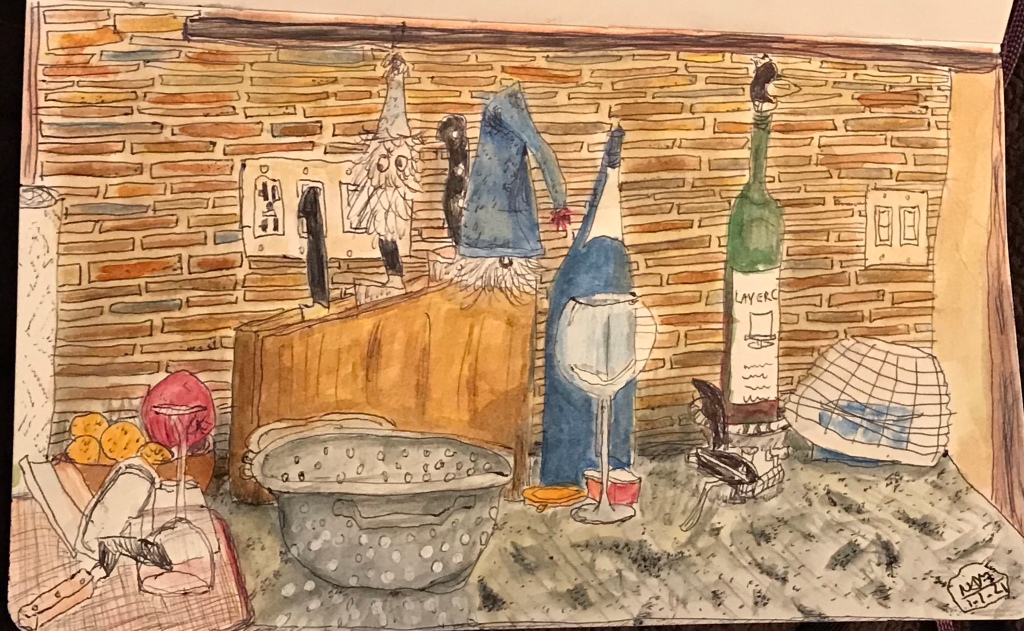 Sketch and watercolor of kitchen counter still life. There are two small stuffed gnomes hanging out on the knife block.